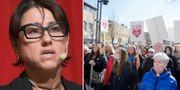 Hanne Kjöller/protester mot nedläggningen av BB i Sollefteå.  TT