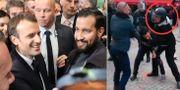 Emmanuel Macron med Benalla/videoklippet när Benalla slår en demonstrant. TT
