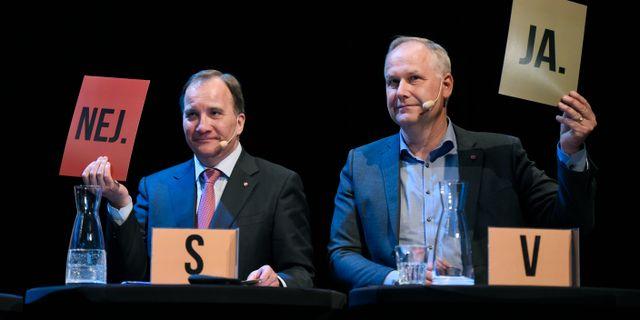 Stefan Löfven och Jonas Sjöstedt.  Erik Mårtensson/TT / TT NYHETSBYRÅN