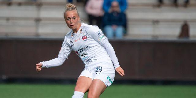 Rosengårds Hanna Bennison under söndagens fotbollsmatch i Damallsvenskan mellan Rosengård och Kopparbergs/Göteborgs. Johan Nilsson/TT / TT NYHETSBYRÅN