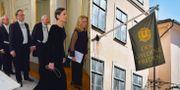 Några av ledamöterna i Svenska Akademien/Flaggan utanför restaurang Gyldene Freden  TT