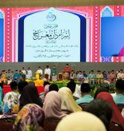 Sultanen Hassanal Bolkiah håller tal. - / AFP