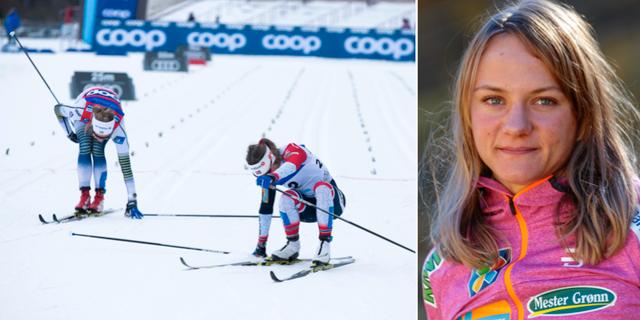 Stina Nilsson tar sig för baksida lår efter att hon förlorat spurten mot Maiken Caspersen Falla för en månad sedan. TT