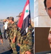 Invånare välkomnar syriska regeringsstyrkor på måndagen. Arkivbilder: Bashar al-Assad och Vladimir Putin. TT