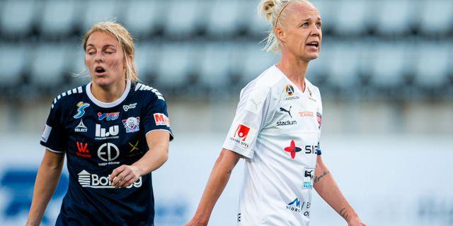 Mimmi Larsson och Caroline Seger. JOSEFINE LOFTENIUS / BILDBYRÅN