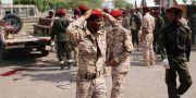 Soldater reagerar på den andra attacken. FAWAZ SALMAN / TT NYHETSBYRÅN