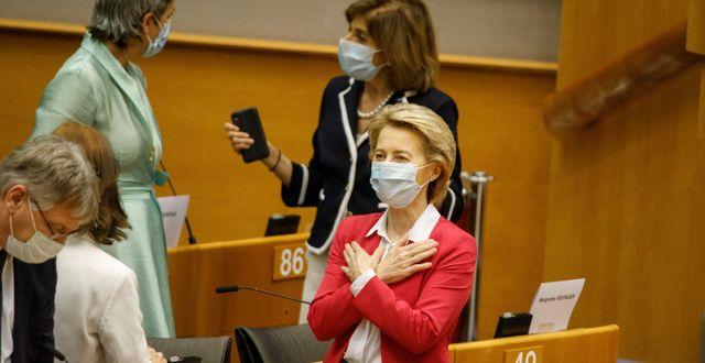EU-kommissionens ordförande Ursula von der Leyen. Olivier Matthys / TT NYHETSBYRÅN