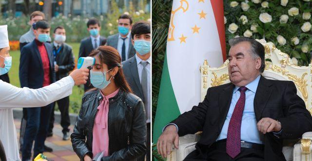Väljares tar tempen vid vallokal. President Emomali Rahmon. TT