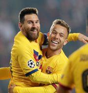 Messi firar sitt mål. DAVID W CERNY / BILDBYRÅN
