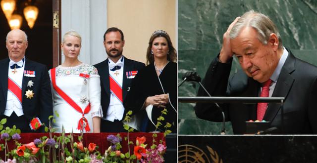 Kung Harald, kronprinsessan Mette-Marit, kronprins Haakon och prinsessan Märtha Louise, arkivbild/António Guterres TT