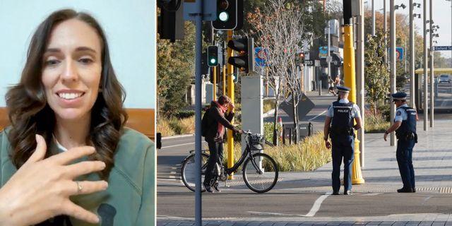 Jacinda Ardern//Människor i Christchurch. TT