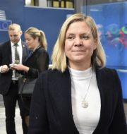 Finansminister Magdalena Andersson (S) i Bryssel.  TT NYHETSBYRÅN