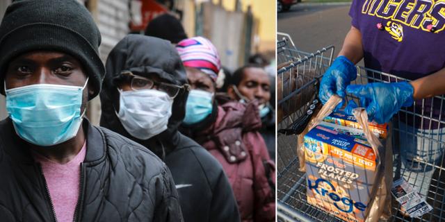 Människor väntar på matdistribution i Harlem, New York. TT