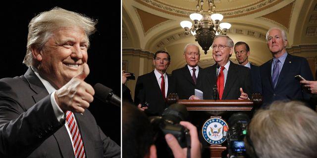 President Trump, republikanska senatorer. Arkivbilder. AFP / TT