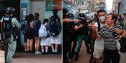 Protester i Hongkong på tisdagen TT