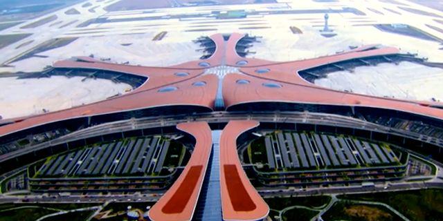 Flygvy över den nya flygplatsen tagen av den globalakinesiskatv-kanalenCCTV. TT NYHETSBYRÅN