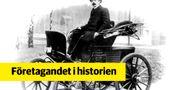 Waldemar Jungner i elbilen som körde runt i Stockholm i 12 timmar år 1900. SAFT AB:s arkiv, Svensk Näringslivshistoria