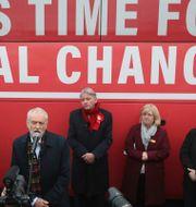 Corbyn talar under ett kampanjmöte. Andrew Milligan / TT NYHETSBYRÅN