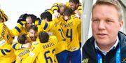 Tre Kronor och Svenska ishockeyförbundets ordförande Anders Larsson.  TT.