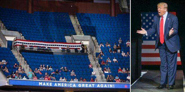 Trump vid mötet i Tulsa. TT