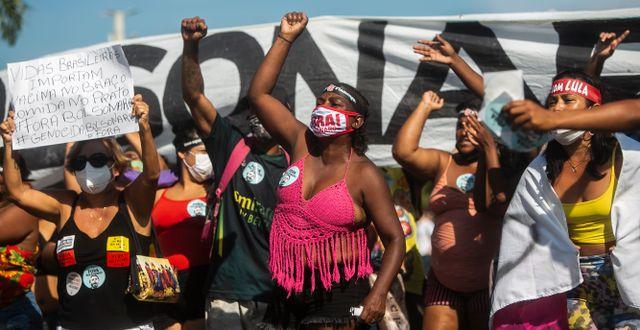 Upprörda känslor i Rio de Janeiro.  Bruna Prado / TT NYHETSBYRÅN