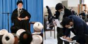 Irans högste ledare ayatolla Ali Khamenei/Iranier lägger sina röster. TT
