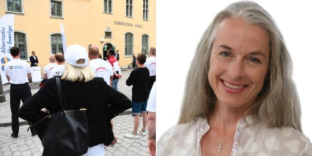 Gustav Kasselstrand talar på Alternativ för Sveriges vid ett torgmöte under Almedalen förra året/Bild på SD-politikern Heléne Nydén. Arkivbilder. TT/Pressbild SD