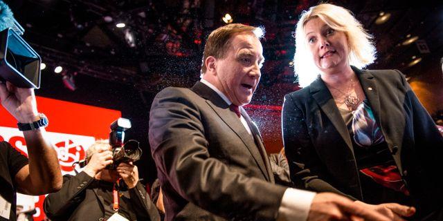 Arkivbild. Socialdemokraternas partiledare Stefan Löfven (S) och partisekreterare Lena Rådström Baastad (S). Filip Erlind/TT / TT NYHETSBYRÅN