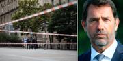Avspärrningar utanför brottsplatsen/Christophe Castaner. TT