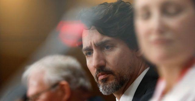 Justin Trudeau under dagens pressträff. BLAIR GABLE / TT NYHETSBYRÅN