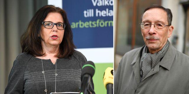 Arbetsförmedlingens generaldirektör Maria Mindhammar och professor Lars Calmfors Fredrik Sandberg/TT och Anders Wiklund/TT