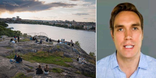 Människor håller avstånd på Skinnarviksberget i Stockholm/Freddie Sayers TT/unherd.com