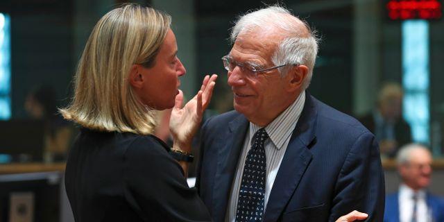 Federica Mogherini och Josep Borrell. Francisco Seco / TT NYHETSBYRÅN/ NTB Scanpix