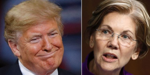 Donald Trump och Elizabeth Warren. TT