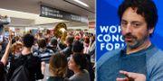Till höger: Protesterna på San Franciscos internationella flygplats. Till höger: Sergey Brin talar under World Economic Forum tidigare i år. TT