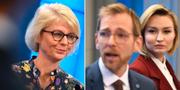 Elisabeth Svantesson (M), Jakob Forssmed och Ebba Busch Thor (KD). TT