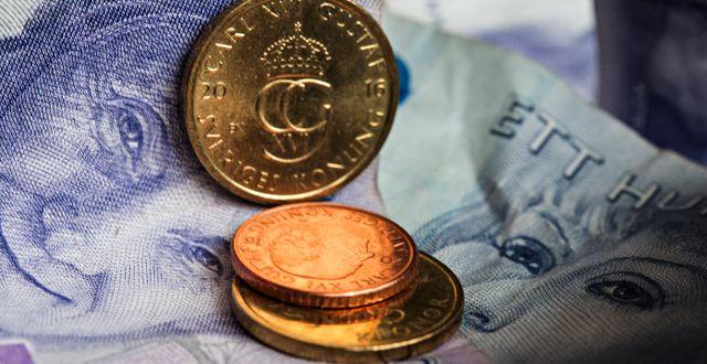 Svenska sedlar och mynt.  Martina Holmberg / TT / TT NYHETSBYRÅN