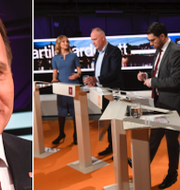 Stefan Löfven under debatten/Ulf Kristersson intill Jimmie Åkesson, Jonas Sjöstedt och Ebba Busch Thor. TT