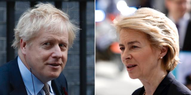 Storbritanniens premiärminister Boris Johnson och EU-kommissionens tillträdande ordförande Ursula von der Leyen.  TT