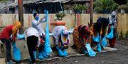 Vårdpersonal i Bombays slum tar på sig skyddskläder.  Rajanish Kakade / TT NYHETSBYRÅN