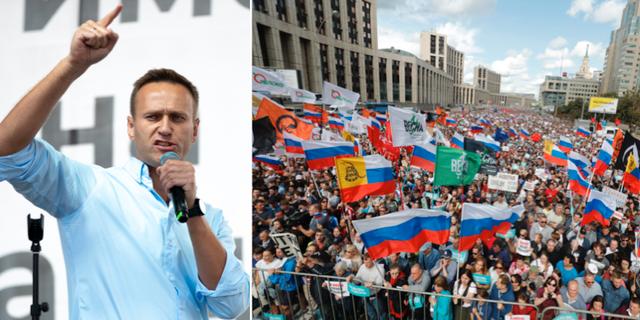 Aleksej Navalnyj talade inför folksamlingen. TT