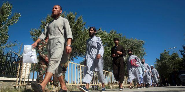 Talibaner som blivit släppta vid en fångutväxling.  Rahmat Gul / TT NYHETSBYRÅN