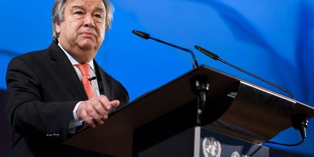 António Guterres vid torsdagens möte i Geneve FABRICE COFFRINI / AFP