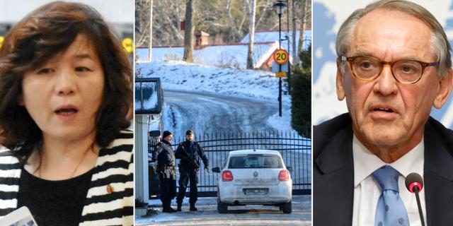 Nordkoreas sändebud Choe Son-Hui och den svenske diplomaten Jan Eliasson.  TT
