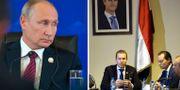 Vladimir Putin. Martin Kinnunen och Markus Wiechel när de sitter vid ett möte under ett porträtt av president Bashar al-Assad. TT. YOUSSEF BADAWI / EPA/TT