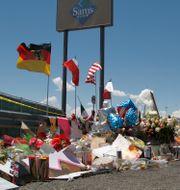 Minnesplats nära Walmart i El Paso efter dödsskjutningen i augusti. Cedar Attanasio / TT NYHETSBYRÅN