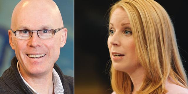 Statsvetare Jonas Hinnfors och Centerpartiets Annie Lööf. TT