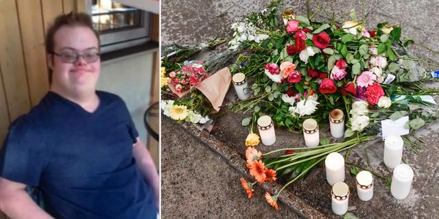 Eric Torell och blommor vid manifestationen för honom. Privat/TT.