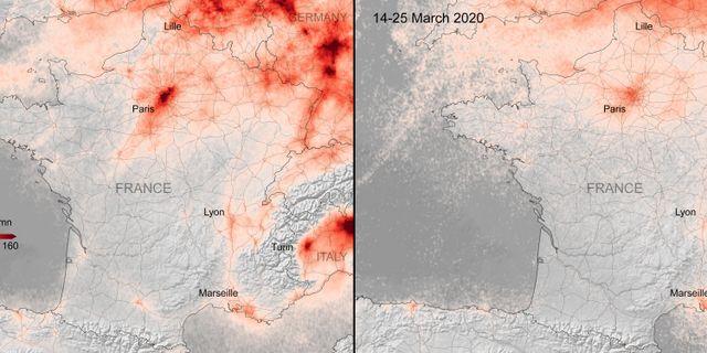 Bilderna visar bland annat utsläppsminskningen i Paris Europeiska rymdorganisationen ESA
