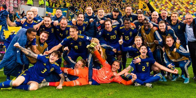 Svenska laget jublar efter att ha kvalificerat sig till EM. PETTER ARVIDSON / BILDBYRÅN